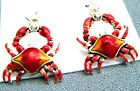 CRAB Dangling Earrings-Bright Orange/Red-Epoxy- 2 1/4 Inches