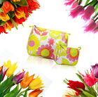 Clinique 2PC Hot Pink Yellow Green Floral Print Cosmetic Bags New Unboxed