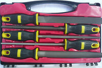 """5pc 8"""" Engineers Metal File Set, Pro Heavy Duty Design in case with Soft Handles"""