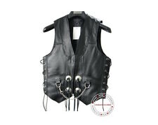 mens leather chain side laces biker motorcycle vest new all sizes available