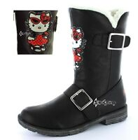 Girls Hello Kitty Winter Woolies Fur Boots Shoe Sizes 8-1