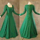 Medieval Renaissance Gown Green Gold Dress Costume LOTR Wedding LARP Shrek 2X