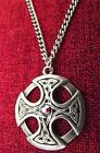 Celtic Cross Circle Swarovski Crystal Medieval Silver Pewter Necklace
