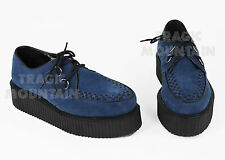Men's CREEPERS Suede Goth Punk Shoes BLUE 4 5 6 7 8 9 10 11 12 13