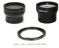 Wide + Tele Lens + Tube Adapter bundle for Canon Powershot SX30 IS SX40 SX50 HS