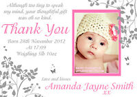 10 Personalised New Baby Born Announcement / Thank You Cards Butterfly Boy Girl
