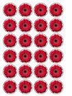 """30 x Red Gerbera Flowers 1.5"""" PRE-CUT Edible Cup Cake Toppers Decorations"""