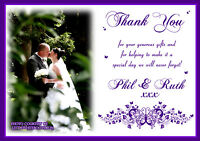 10 Personalised Wedding Thank You Cards Photo Civil Ceremony Butterfly Photo