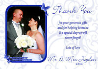 10 Personalised Wedding Thank You Cards Photo Civil Ceremony Butterflies Royal