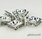 50pcs silver plated Square shape rhinestone crystal spacer beads 6x6mm