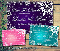 10 Personalised Save The Date Wedding Cards Invites Snowflakes Purple Winter