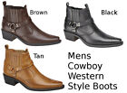 Mens Cowboy Boots Western Style Ankle Black Brown Tan Short Size 6,7,8,9,11,12