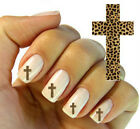 Nail Wrap Art DECAL for Natural or False Nails Water TRANSFER Leopard Cross