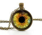 Yellow Colour Wolf Eye Necklace Pendant - Bronze Wild Wolves Animal Jewelry Art