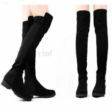 Women Lady Wide LEG Calf Stretch Over Knee Thigh High Flat Boot Shoes Size Black