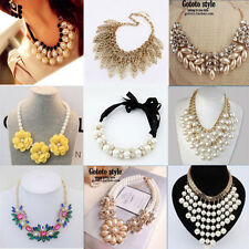 Occident style luxury exaggerate pearl crystal Clavicle necklace 40 style
