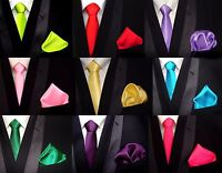 TOP Tie Tie + Handkerchief Red Yellow Green Turquoise CHOICE 35 Colors