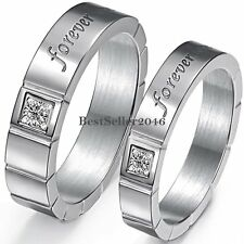 """"""" Forever Love """" Silver Stainless Steel Promise Ring Mens Womens Wedding Band"""