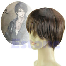 Vogue Handsome Boys Men male Short Straight Cosplay Party Costume Hair Full Wigs