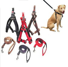 Dog Harness Strong Adjustable + Lead  M L XL Black Brown Red- Control Training
