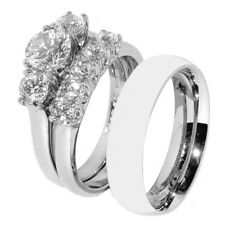 His Hers 3 PCS Stainless Steel Her Wedding Ring Set and His Matching Band
