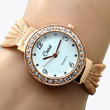 Women Bangle Bracelet Stainless Steel Crystal Dial Wrist Watch Hour New ST Lady