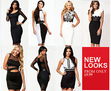 Ladies SEXY Black White Lace Mesh Bodycon Mini Midi Club Party Evening Dresses