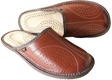 Black Brown size 6 7 8 9 10 11 Mens Natural Leather Slippers Luxury Gift Present
