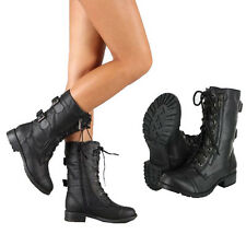 Women Combat Riding Boot Mid Calf Military Lace Up with Buckle & Side Zipper #72