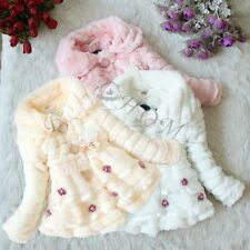 Toddler Baby Girls Faux Fur Coat Outwear Winter Warm Jacket Xmas Parka Snowsuit