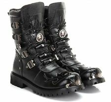 Mens High Boot gothic lace up cosplay fur lined Army Military combat shoes