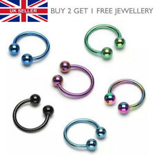 Horseshoe Titanium Anodized Lip Hoop - Nose, Tragus, Eyebrow, Labret Ring - UK