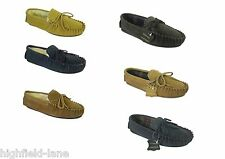 MENS REAL LEATHER MOCCASIN NAVY BLUE TAN BROWN SLIPPERS WOOL LINED ALL SIZES