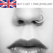 Surgical Steel Black or Gold Thin Small Nose Hoop Ring Stud 8mm - UK SELLER