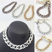 Women Chunky Statement Chain Pendant Bib Necklace Choker Jewelry
