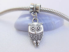 Cute Silver Tone Tiny Baby Owl Bird Slider Dangle Charm fits European Bracelets