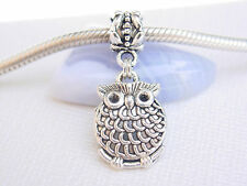 Cute 3D Silver Tone Fat Baby Owl Bird Slide Clip Dangle Charm fits Euro Bracelet