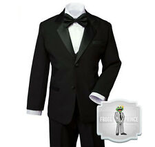 Formal Boys Kids BLACK Tuxedo Suit with Bow Tie Tie Complete Set Size Small - 20