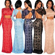 Womens Ladies Evening Lace Maxi Dress Prom Formal 2 Two Piece Skirt Crop Top Set