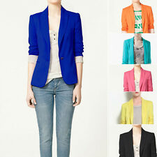 Candy Colour Women's Casual Blazer Jacket Foldable Sleeves Suit Coat