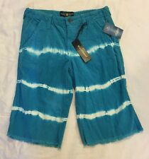 NWT Lucky Brand Kids Billy Straight Shorts Turquoise White TieDye size 12 or 14
