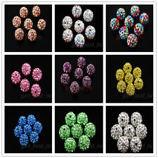 Assorted10mm Crystal Rhinestone Pave Clay European Bracelet Round Ball Beads