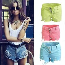 Women Vintage Retro Denim Shorts Tassels Ripped Cut Washed Out Mini Jeans Frayed