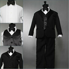 Well tailored boy Black tuxedo formal suit wedding ring bearer party all sizes