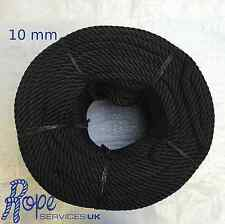 10mm Black nylon rope, Anchor, Boat, Mooring, Yacht, Builders,Choose your length