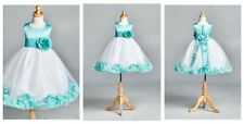 Tiffany Blue White Top Solid Petal Toddler Girl Dress 24 6 8 10 12 14 #0032