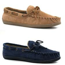 Mens Leather Slippers Real Suede Warm Fur Slip On Loafers Moccasins Shoes Size
