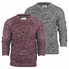 Mens Brave Soul Chunky Knit Jumper Crew Neck Cotton Knitted Sweater Top S-XL