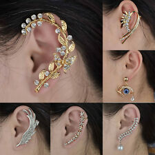 Gold/Silver Plated Crystal Diamante Punk Satement Wrap Cuff Earring Clip Stud