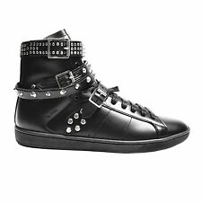SAINT LAURENT SNEAKERS - 39 - BLACK LEATHER SHOES STUDS YSL  6.5 7 8.5 9